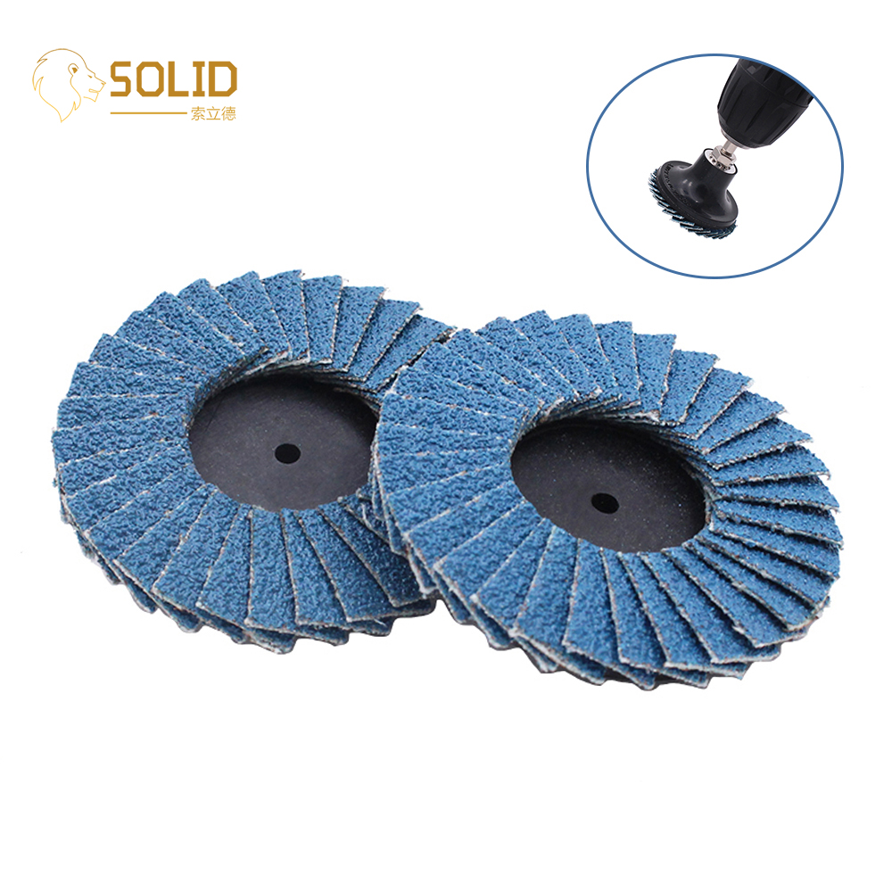 10Pcs 2inch/3inch Flap Disc Type R Roloc Grinding Wheel Abrasive Tool For Polishing Metal And Removing Rust Paint 80#