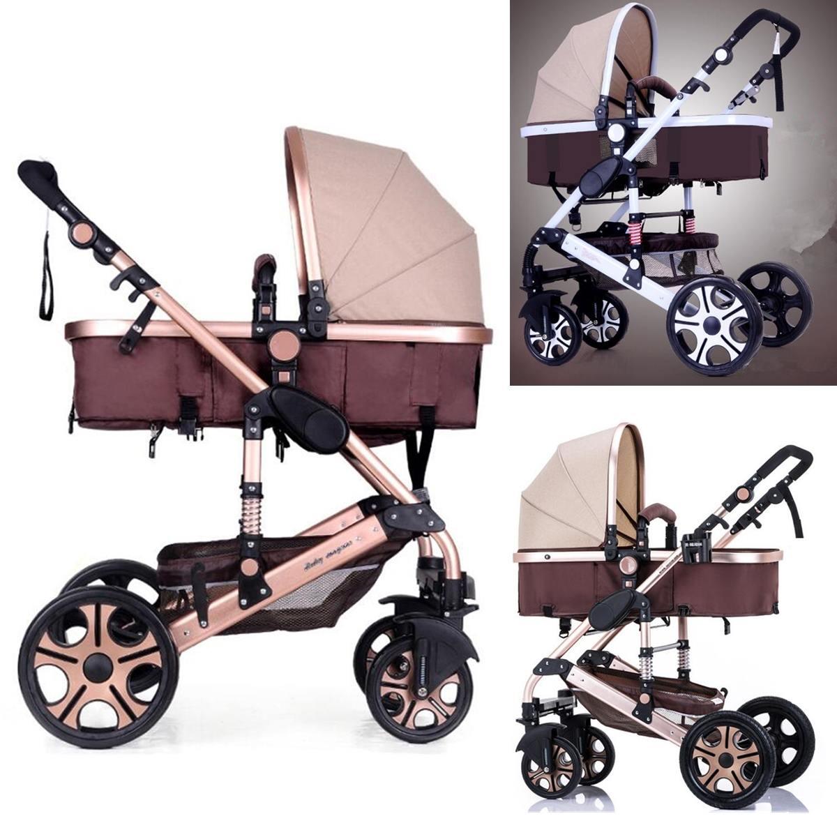 2019 poussette bébé 2 en 1 poussette allongée ou amortissante pliante poids léger deux côtés enfant quatre saisons mode haute-paysage