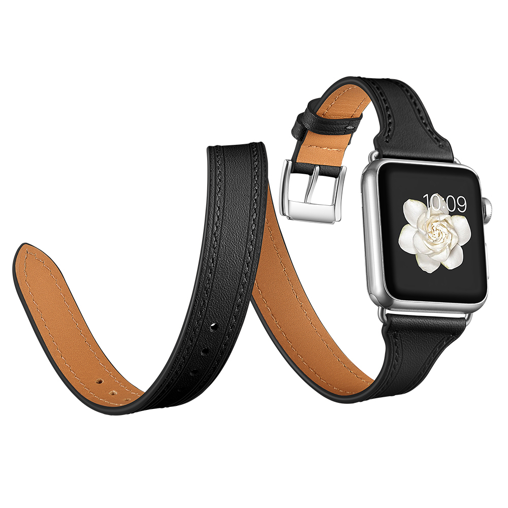 Loop Strap For Apple watch band 42mm 38mm Series 4 3 2 1 Genuine Leather Double Tour Wrist bands Bracelet iWatch Watchband fohuas series 2 1 genuine leather loop for apple watch band double tour 42mm for apple watch leather strap 38mm bracelet women