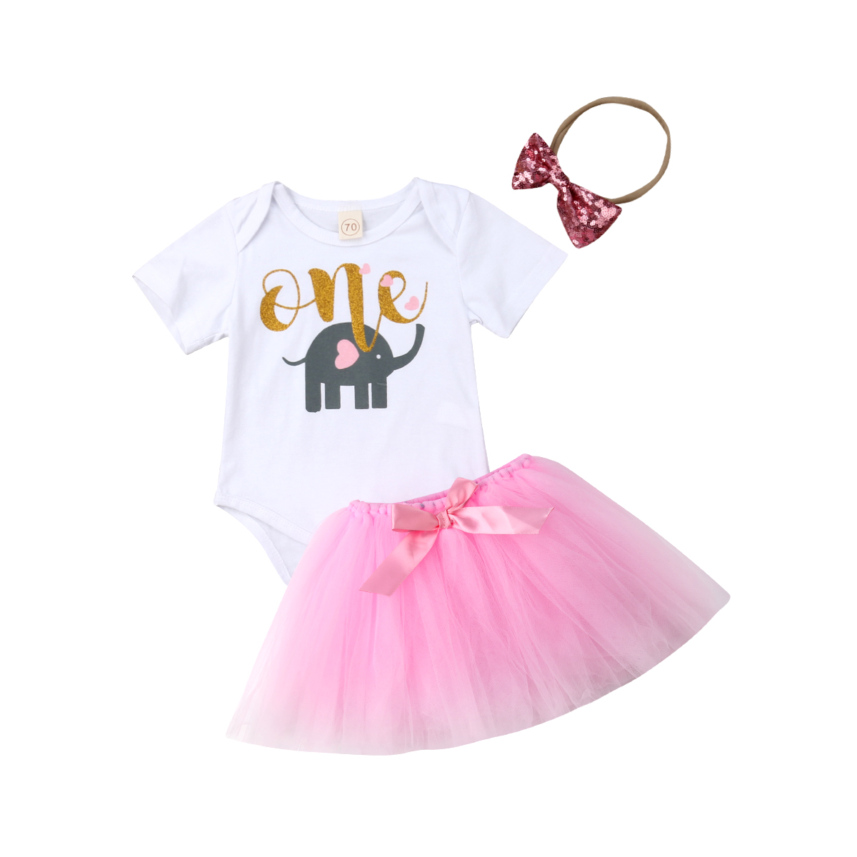 1st Birthday Outfit Baby Girls Romper Skirt Headband Cake Smash Party Clothes