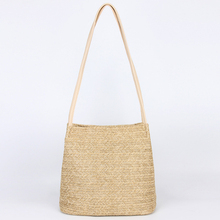 ABDB-Women's Handbag Fashion Beautiful Straw Woven Tote Large Summer Beach Shoulder Bag, Beige