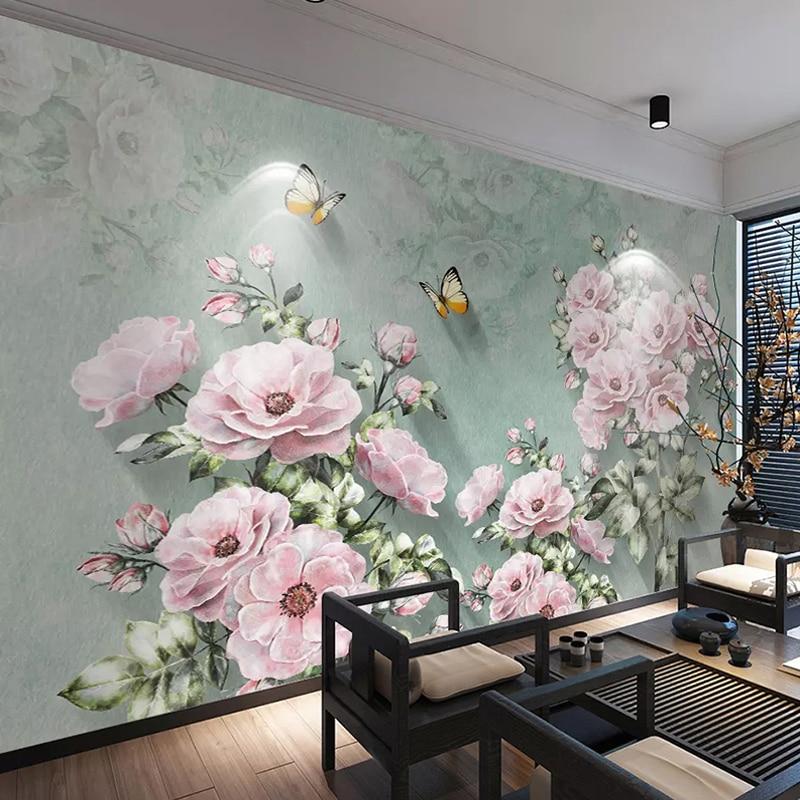 Custom Wall Murals Wallpaper 3D Retro European Style Flower Butterfly Living Room Study Room Bedroom Background Wall Decor Mural