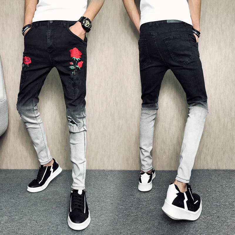 New Fashion Men 39 s Rose Embroidered Slim Jeans Patchwork Hole Hit Color Jeans Pencil Pants For Men in Jeans from Men 39 s Clothing