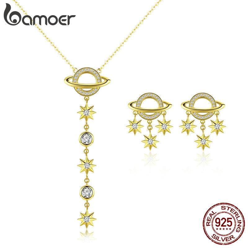 Bamoer Universum Sammlung 925 Sterling Silber Galaxy Sterne Anhänger Halskette Und Ohrringe Für Frauen Partei Schmuck Sets Zhs114 Angenehm Zu Schmecken