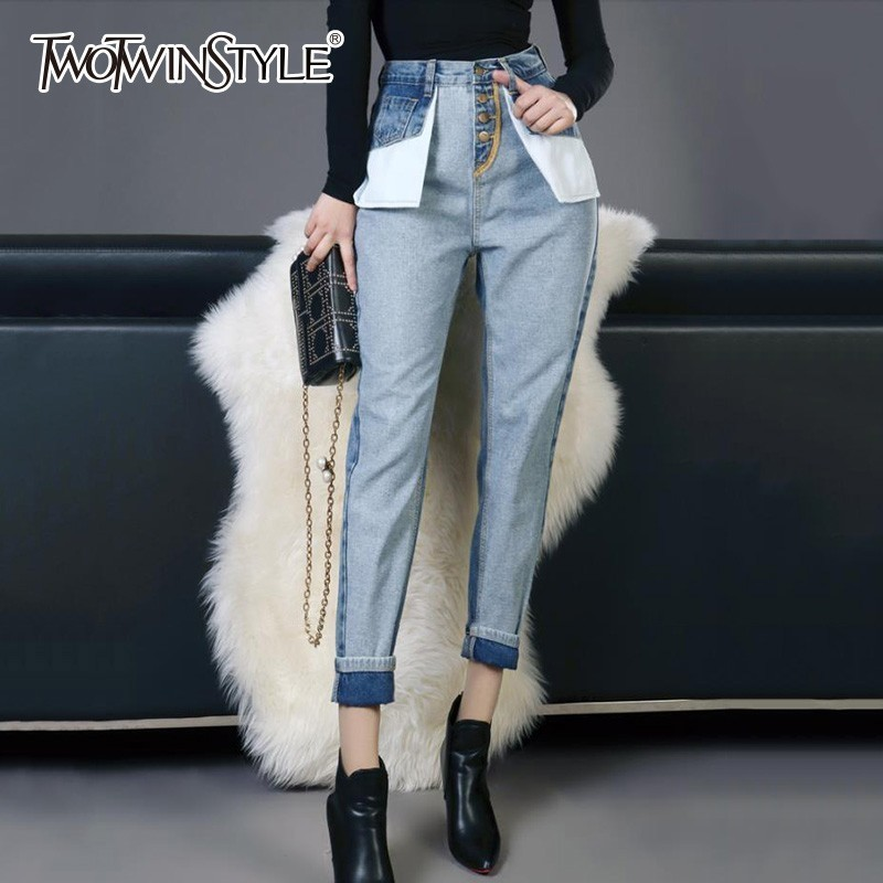 TWOTWINSTYLE Denim Trousers For Women High Waist Hit Colors Patchwork Pockets Ankle Length Jeans Female 2019 Spring Casual