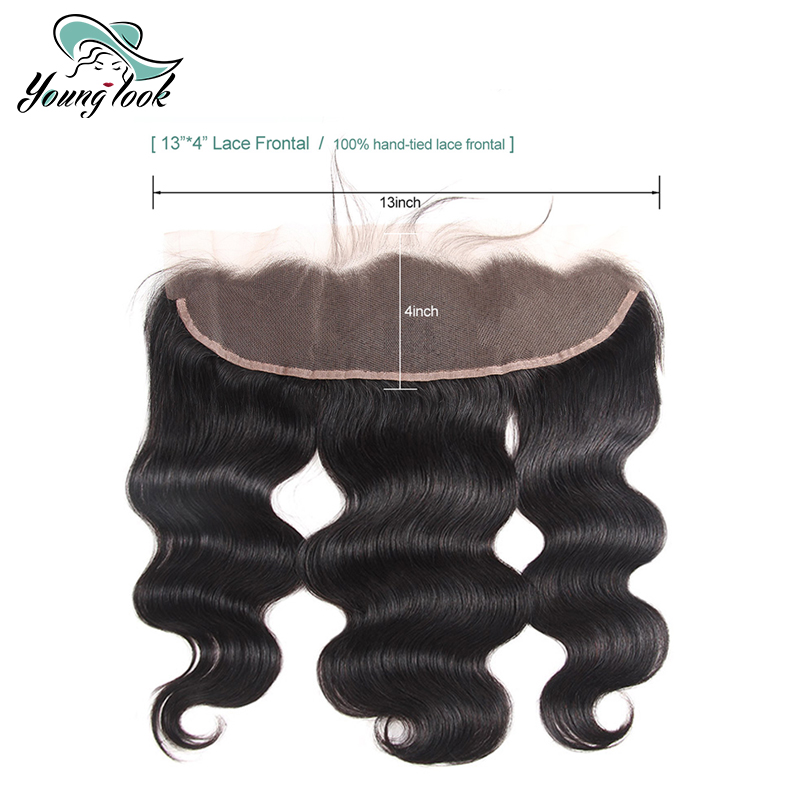 Young Look Hair Brazilian Body Wave Lace Frontal Closure 100 Human Hair 13 4 Lace Closures Non Remy 8 20 Inch 1B Free Shipping in Closures from Hair Extensions Wigs