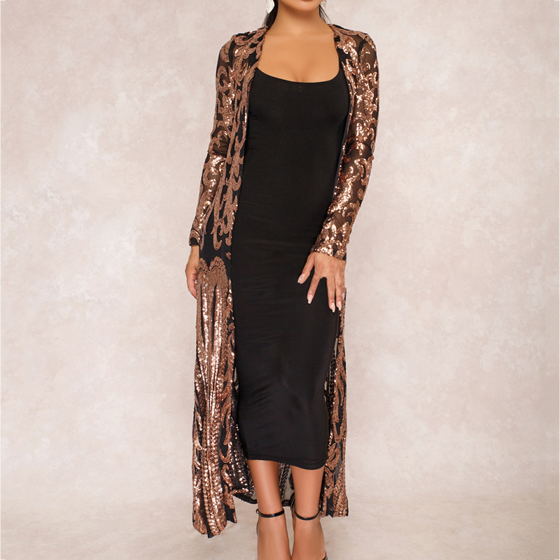 Fashion Sexy Womens Long Sequin Kimono Lace Cardigan Blouse Cover Coat Party Tops Gift Long Coat Women