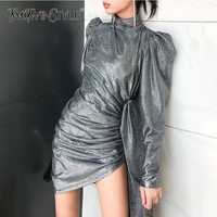 TWOTWINSTYLE Lace Up Asymmetrical Women's Dresses Puff Sleeve Turtleneck Mini Dress Female Sexy Backless Fashion Autumn 2018