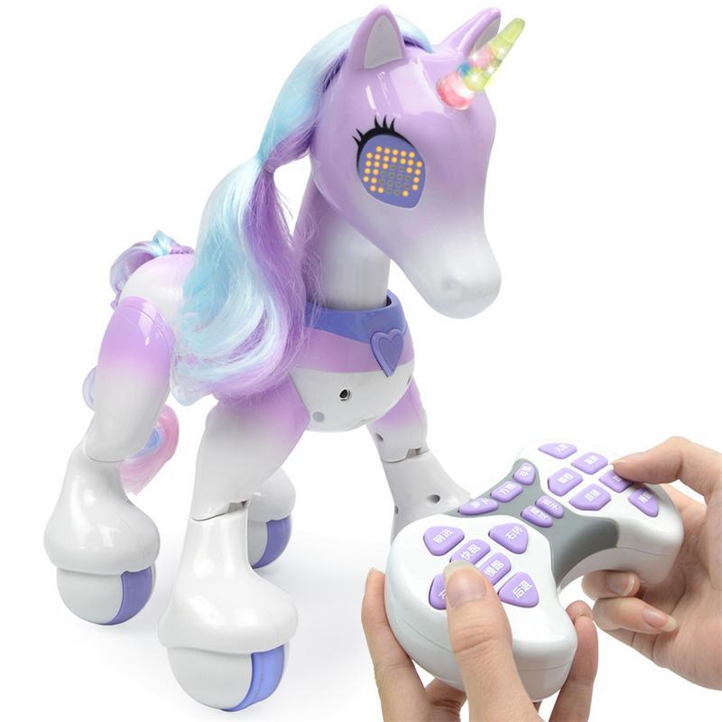Mignon Intelligent électrique Intelligent cheval télécommande licorne enfants nouveau Robot tactile Induction électronique Pet jouet éducatif
