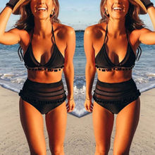2019 Newest Hot Women Striped Bikini Set Push-up Padded Swimwear Tassel High Waist Swimsuit Bathing