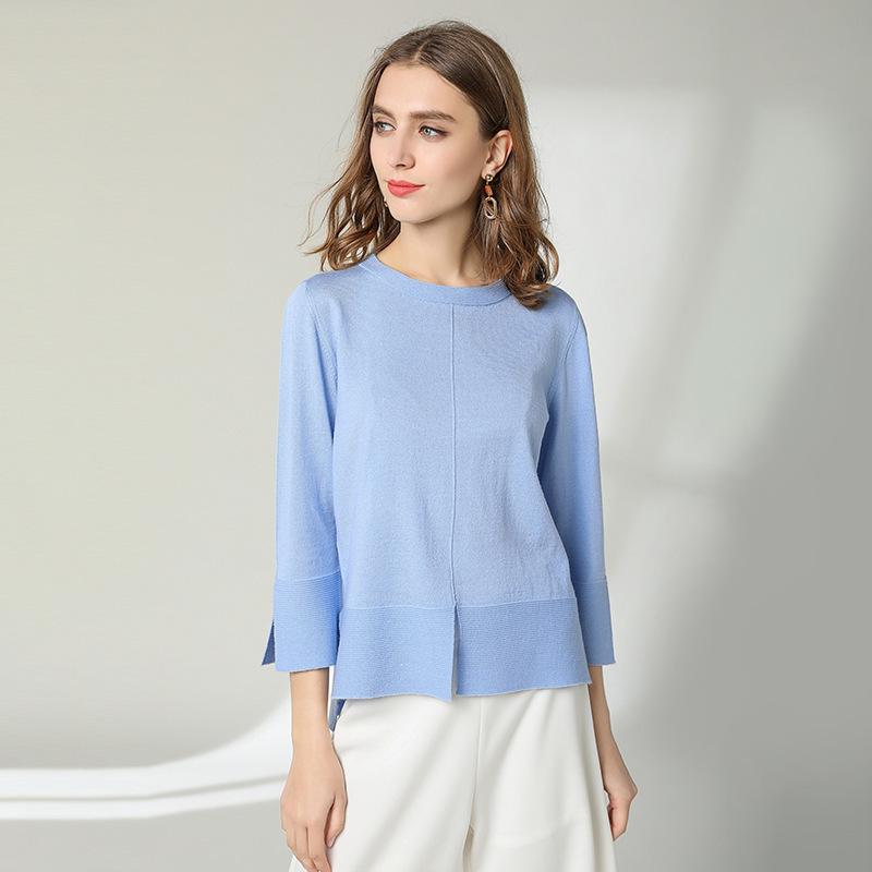 Knitted shirt woman 2019 fashion loose Pullover 50%wool blended High Quality Rendering All-match sweater women spring 1910 Price $28.00