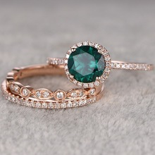14K Rose Gold Fashion Style Close Ring for Women Micro-set Emerald Zircon Diamond Three-piece  Engagement jewelry Geometric