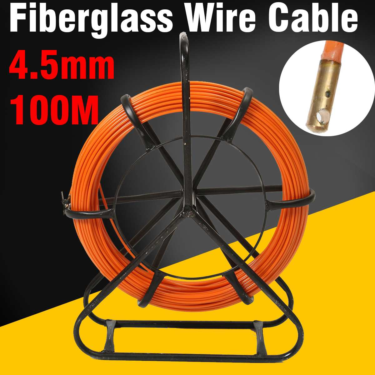 Amiable 4.5mm 100m Fiberglass Wire Cable Running Rod Snake Fish Rodder Puller Flexi Lead Electric Fiberglass Wire Cable Running Rod Home Improvement
