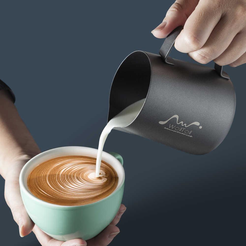 Non Stick Teflon สแตนเลสสตีลนม Frothing เหยือกกาแฟ Barista CRAFT LATTE Cappuccino ครีม Frothing JUG เหยือก