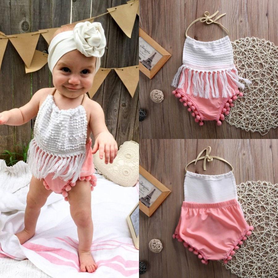 Pudcoco Girl Jumpsuits 0-24M Newborn Infant Baby Girls Tassels Romper Jumpsuit Outfits Sunsuit Cute
