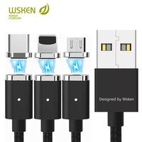 Wsken USB Magnetic charging Cable For iPhone xs x 8 7 6 Magnetic Charger Micro USB Type C Magnet Cable For Samsung Huawei Xiaomi Mobile Phone Cables Cellphones & Telecommunications -