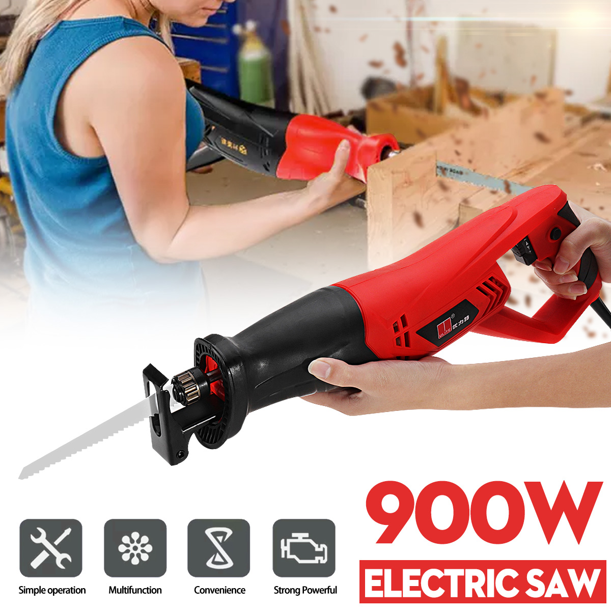 High quality 220V 900W Electric Reciprocating Saw Saber Convert Adapter 2 Blades Wood Metal Plastic Pruning Power chainsaw ToolHigh quality 220V 900W Electric Reciprocating Saw Saber Convert Adapter 2 Blades Wood Metal Plastic Pruning Power chainsaw Tool