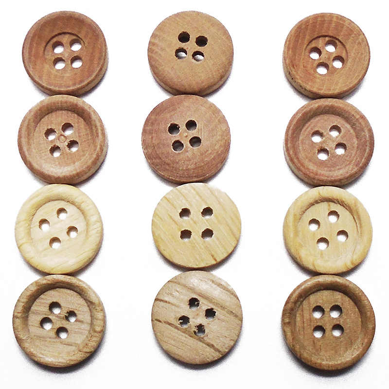 10 adet-100 adet boru ahşap tahıl ahşap düğmeler doğal renk 15mm dikiş DIY el sanatları Scrapbooking için dekor 4 delik ZIEENE