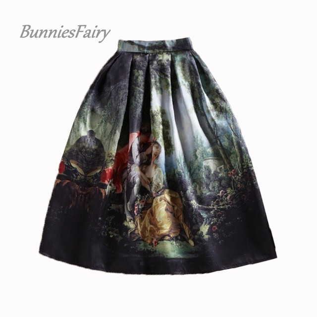 9ac389f4e6a BunniesFairy 50s Princess Royal Vintage Retro Fantasy Oil Painting Floral  Print High Waist Midi Skirt Full Circle Saia Femininas
