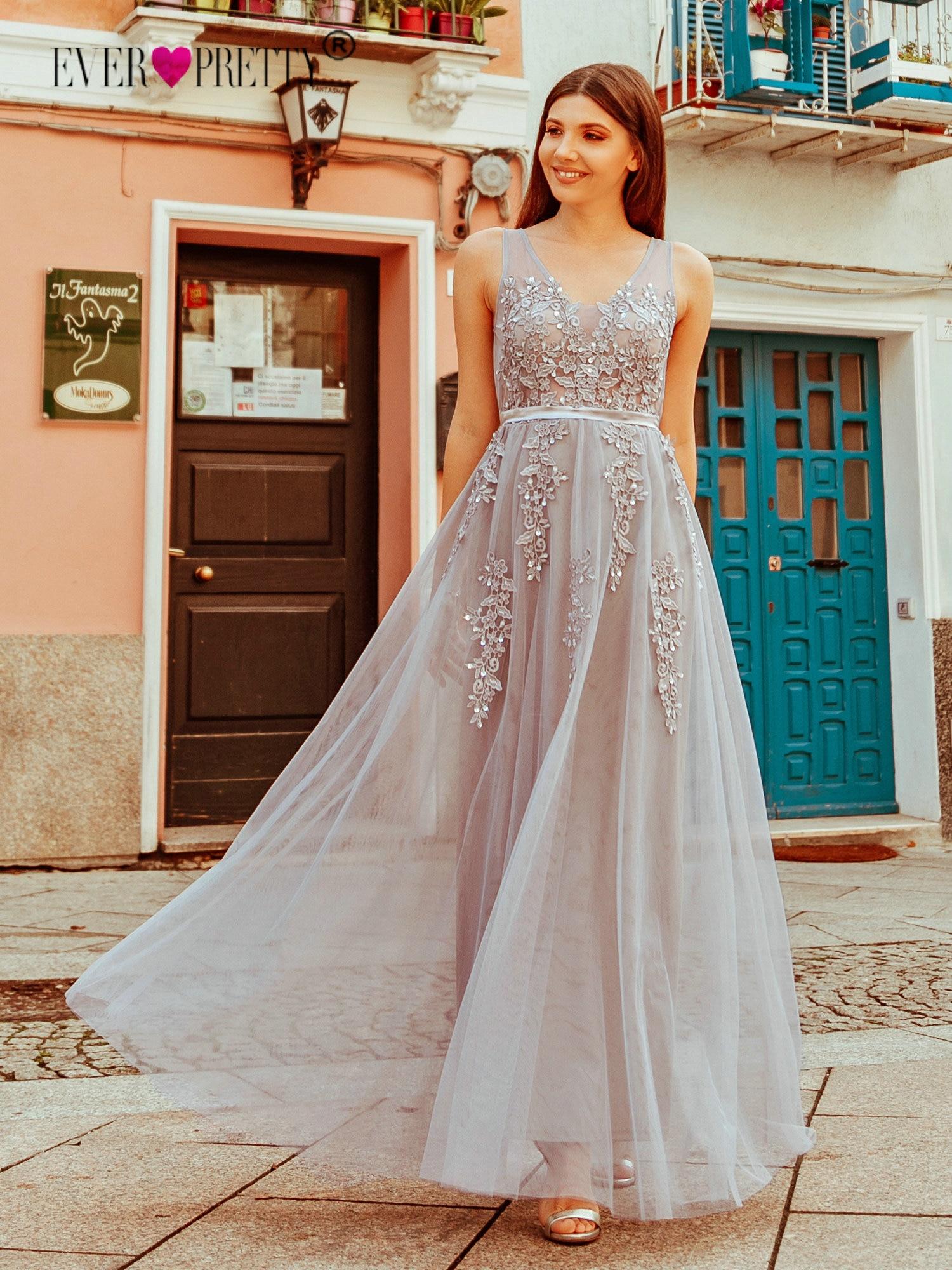 Prom Dresses Long 2019 Ever Pretty Elegant Long V-neck Tulle Lace Applique Sleeveless A-line Hot Selling Vestidos De Graduacion