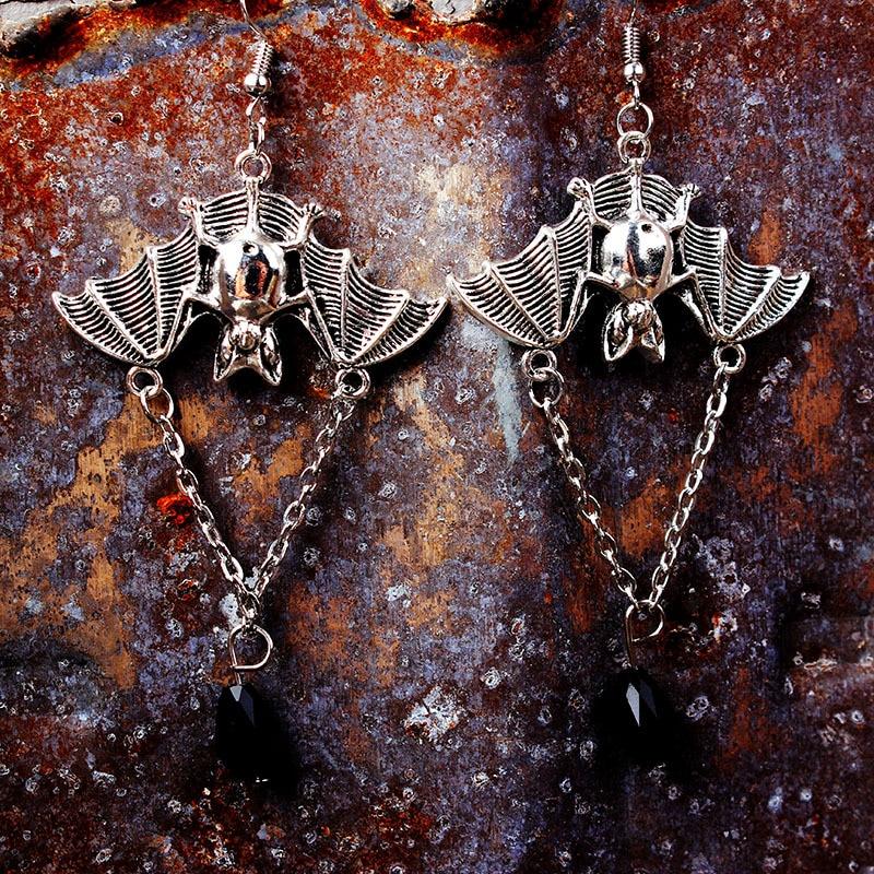 LE SKY Retro Wind Pentagram Cow Skull Earrings Natural Stone Rose Bird Bat Pendant for Women Jewelry