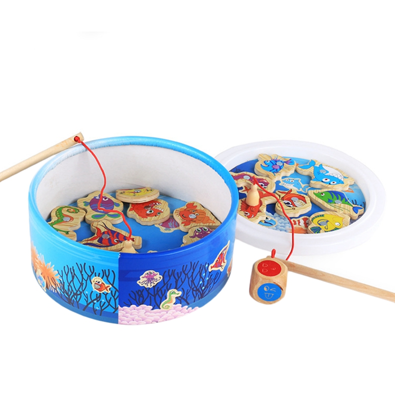 The Baby Puzzle Fishing Toy Magnetic Fishing Educational Fishing Game Wooden Toys Children Birthday Gifts