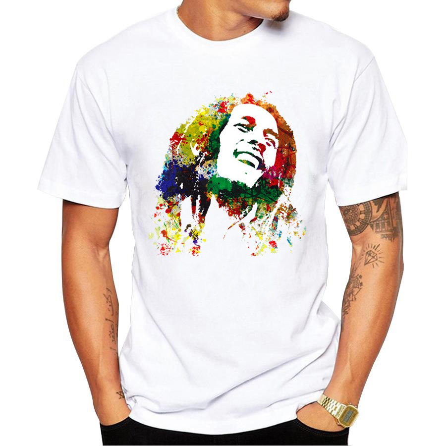 New Fashion Men Music   T     Shirt   Bob Marley Printed   T     Shirt   Mens cotton short sleeve   T  -  shirt   Homme cool men   t     shirt   streetwear