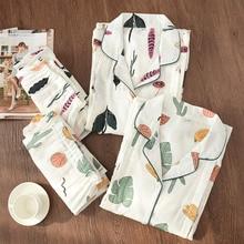 Pijamas femininos gaze, 100% algodão, roupas de maternidade, conjunto, solto, alimentação, dos desenhos animados, roupas de dormir, outono, tamanho grande