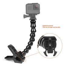 8 seções gooseneck ajuste maxilas braçadeira flexível suporte de montagem clipe para gopro hero 7 6 5 para go pro acessórios da câmera ação