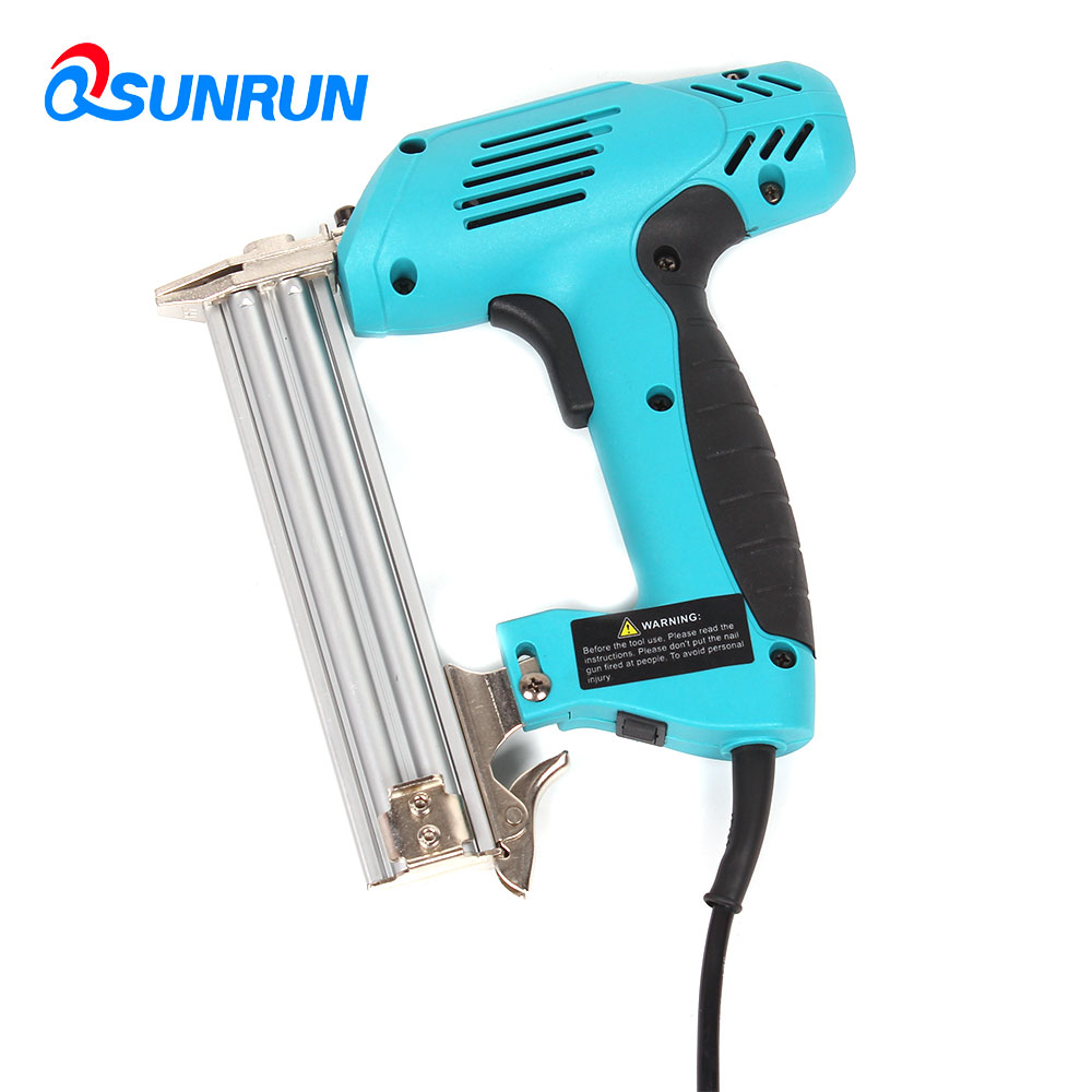 QSUNRUN Hand tool F30 Electric Nail Gun 220V 1800W Portable Straight Nailer Nailing Device Woodworking Free