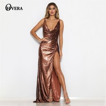 47908f12a9f9 Ohvera Sequin Party Dresses Women Spaghetti Strap Deep V Neck Maxi Long  Summer Dress Backless High
