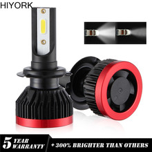 Hiyork 2PCS Car Headlight Bulbs Super Mini H7 9005/HB3 9006 H11 H4 72W 7200LM DOB LED Chips EV7 Conversion Lamps Accessories