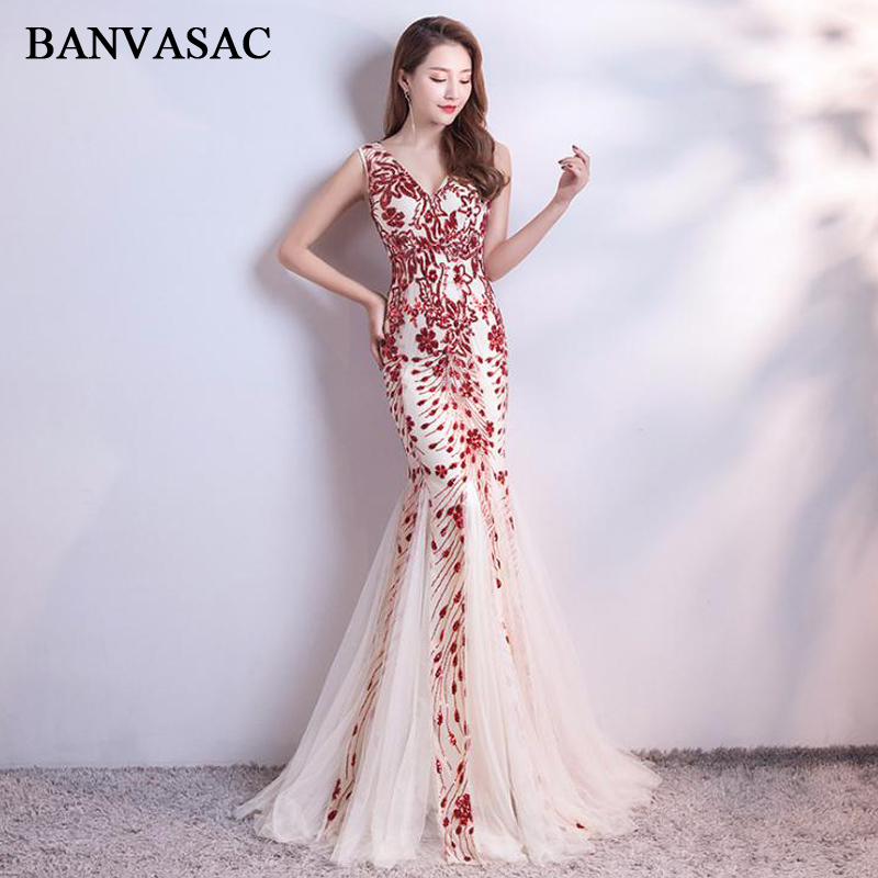 BANVASAC Mermaid Deep V Neck Sequined Appliques Long Evening Dresses 2019 Elegant Party Tulle Backlesss Prom Gowns