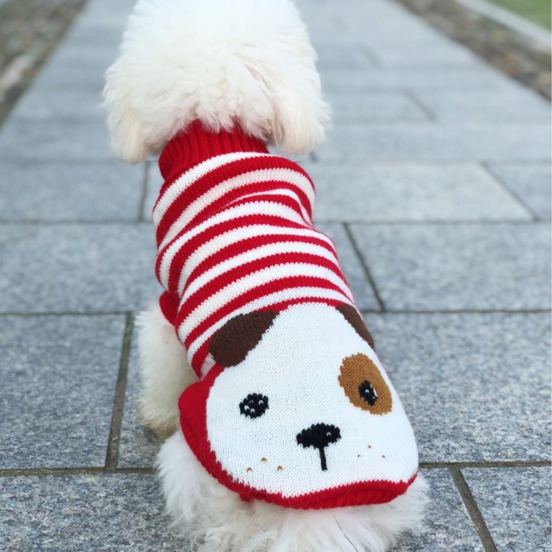 Winter Cartoon Dog Clothes Warm Christmas Sweater For Small Dogs Pet