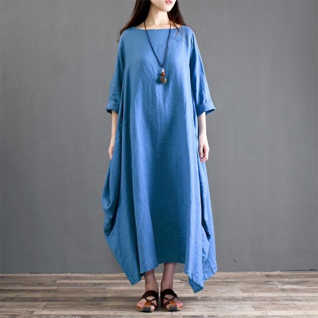 Discount 5XL Plus Size Spring Dress Women Vintage 3/4 Sleeve Pocket ...
