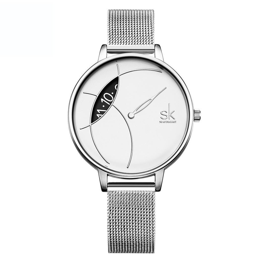 Women Fashion Round Analog Quartz Wrist Complete Schedule Watch Bracelet Easy To Read 9mm 30m 225mm Bangle Watches