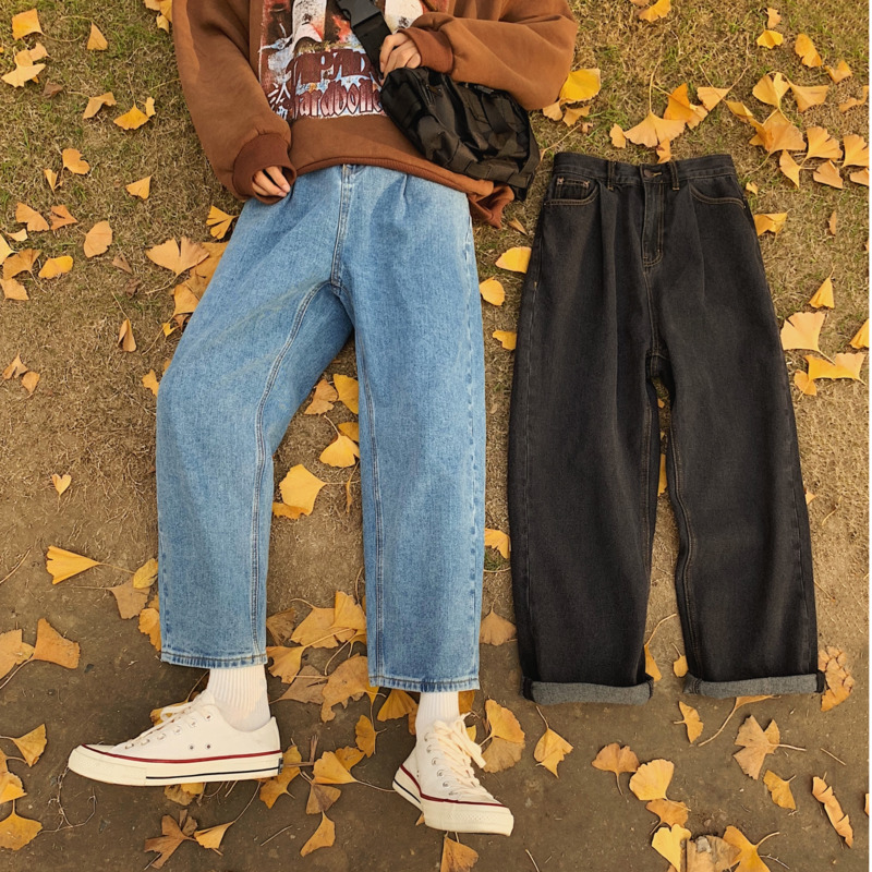 2019 Spring And Autumn New Recommended Solid Color Casual   Jeans   Simple Loose Straight Trousers Male Blue / Black M-2XL