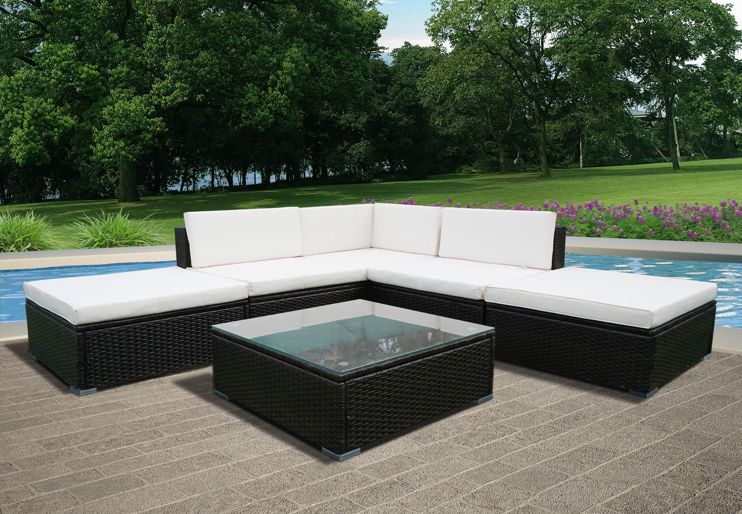 Panana 6 adet Rattan bahçe mobilyaları veranda sehpa ve köşe koltuk takımı osmanlı PE hasır çelik çerçeve