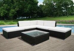 Panana 6 uds ratán muebles de jardín o patio mesa de centro y sofá de esquina conjunto otomano PE mimbre marco de acero