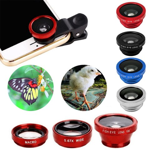 Universal 3-in-1 Wide Angle Macro Fisheye Lens Mobile Phone Fish Eye Lenses Camera Kit For iPhone Samsung Smartphone Accessories Lahore