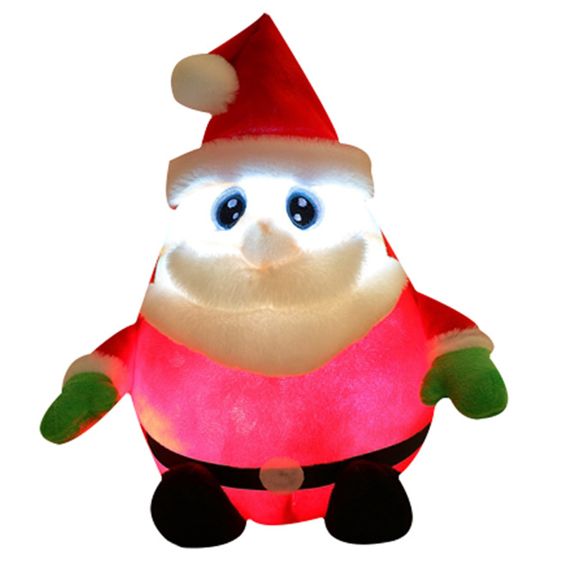 30CM Light Up LED Sing A Christmas Song Colorful Glowing Luminous Plush Santa Claus Stuffed Doll Toys Lovely Gifts For Kids