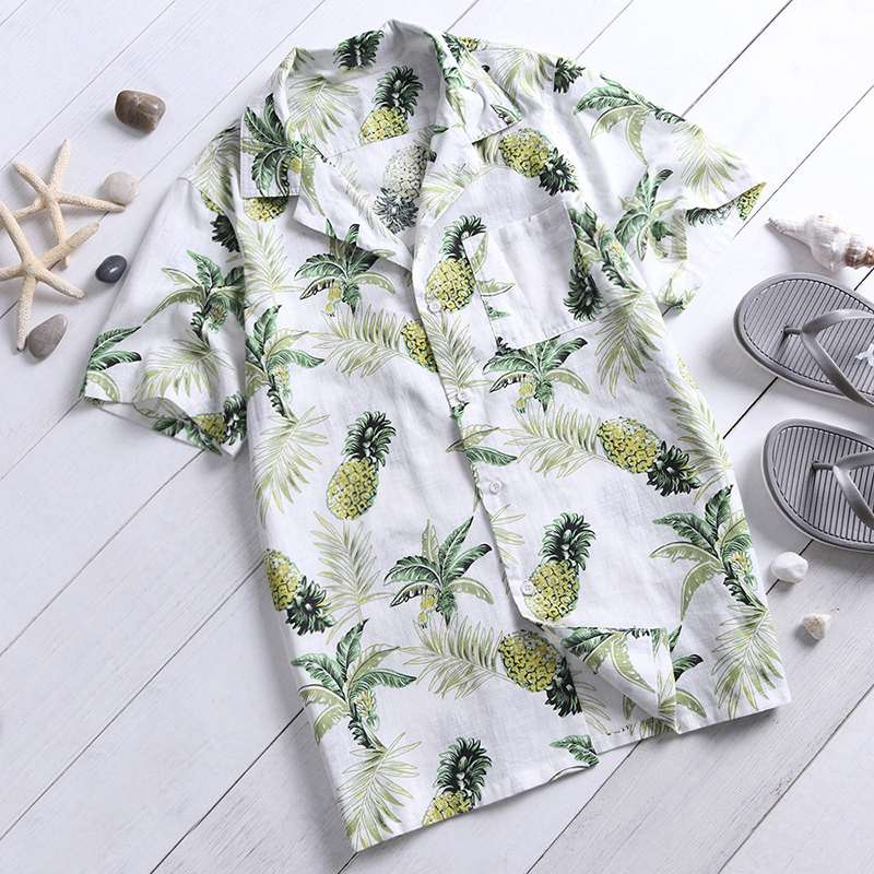 2020 Eye-Catching Shirts Hawaiian Mens Shirts Dress Short Sleeve Lapel Collar Floral Beach Vacation Clothing Summer 4XL Tropical