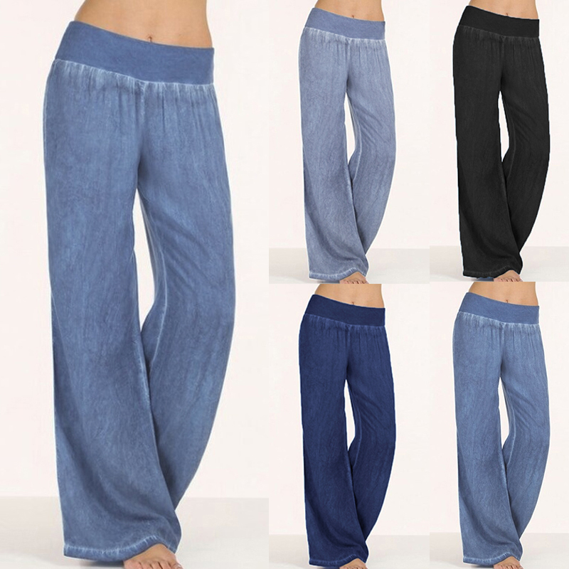 Celmia Women Long Harem   Pants   Plus Size Trousers 2019 High Waist Casual Loose Pleated Denim Blue   Wide     Leg     Pants   Palazzo Mujer
