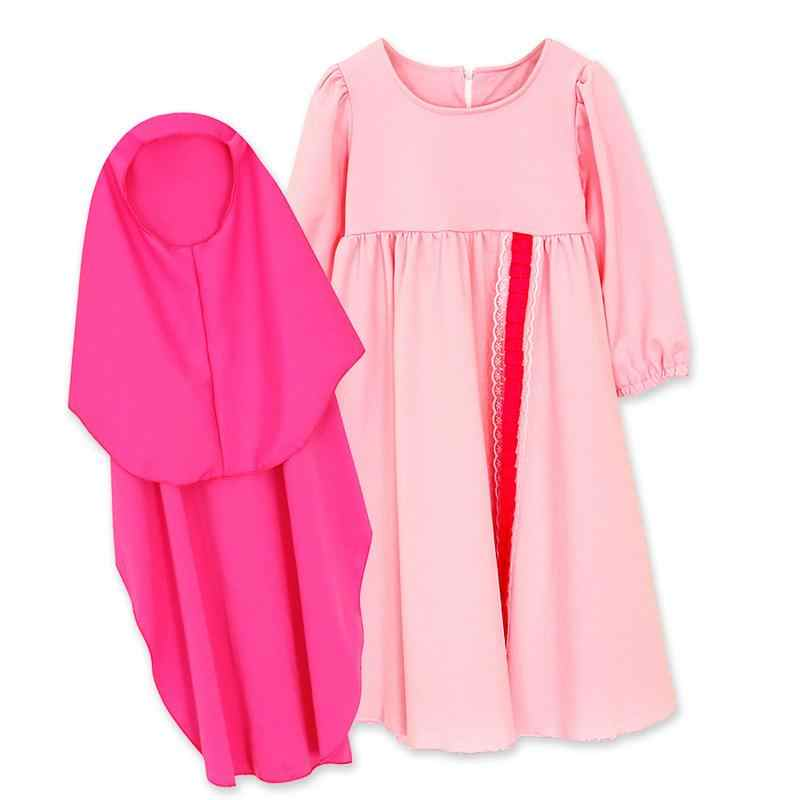イスラム教徒イスラムガールドレス長袖ドレスアバヤのカフタンため + ヒジャーブ 2 個スーツ Combinaison Musulman ランファン服