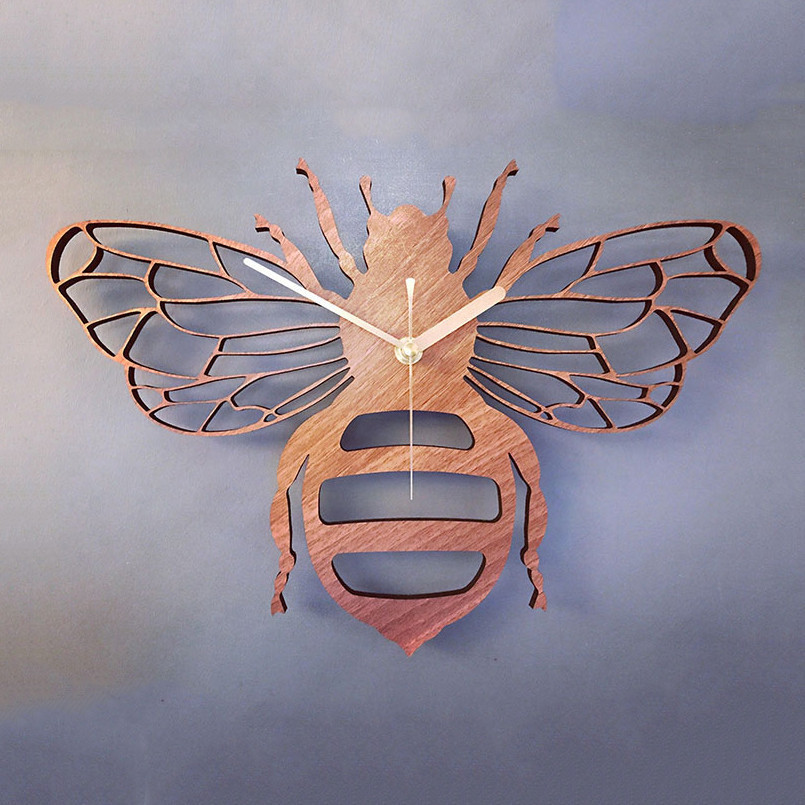 New 3D Wall Clock 30cm Bee Shape Clock On The Wall Wooden Quartz Wall Watch For Living Room Antique Style Duvar Saati For Home