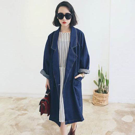 Blue Denim Coat Women 2017 Fall WInter Vintage Casual Loose Pocket Long Sleeve Long Jeans Coat   Trench   Coat casaco feminino C19