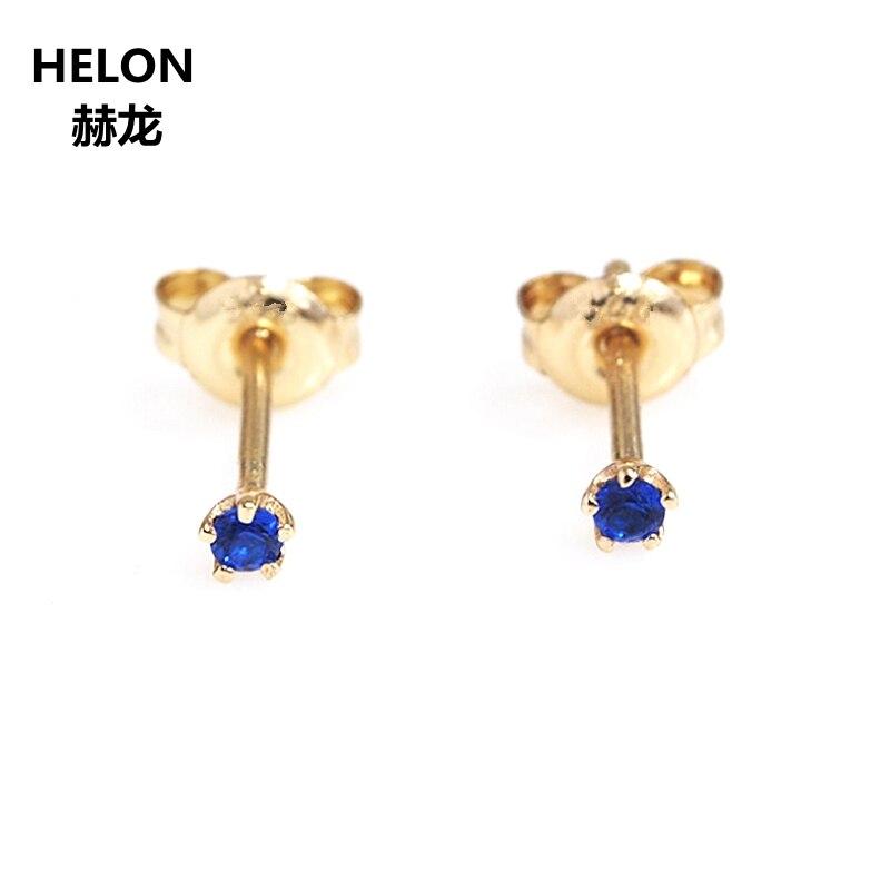 الصلبة 14 k الذهب الأصفر الطبيعي الياقوت الأزرق الأحمر روبي الزمرد أقراط النساء الأقراط غرامة المجوهرات 2mm جولة-في الأقراط من الإكسسوارات والجواهر على  مجموعة 3
