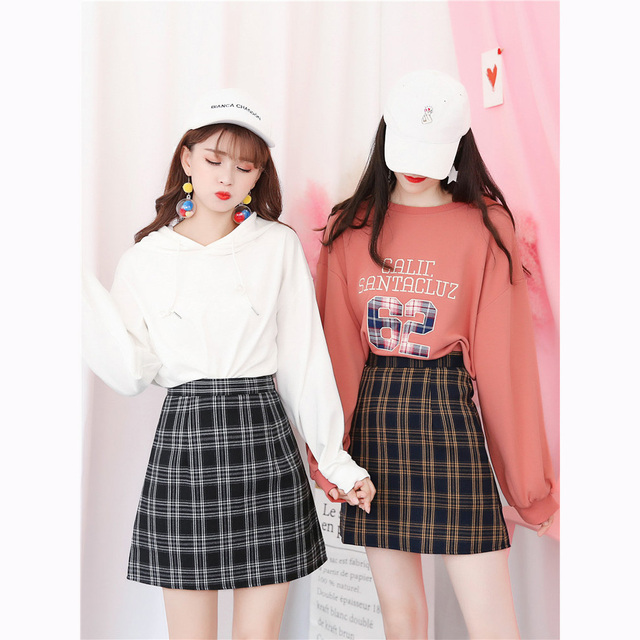 4873208e4 Retro Korean Preppy Style Plaid Skirt Women College Teenager Mini A line  Chic Mini Short Skirt