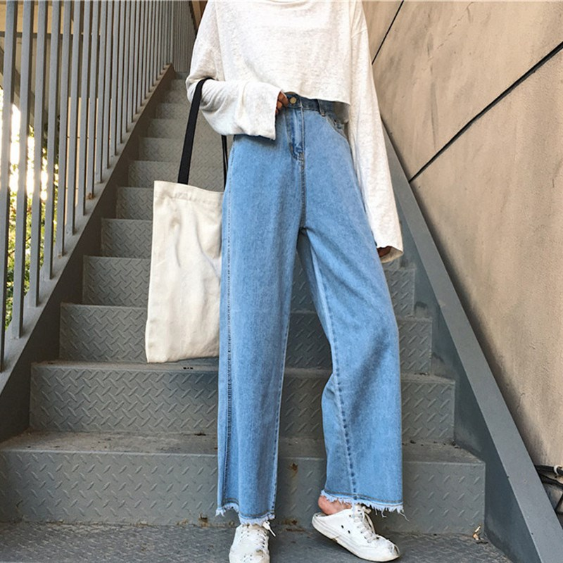 Vintage Women Wide Leg Denim Pants Ankle-Length High Waist   Jeans   Female 2019 Spring Pantalones Mujer