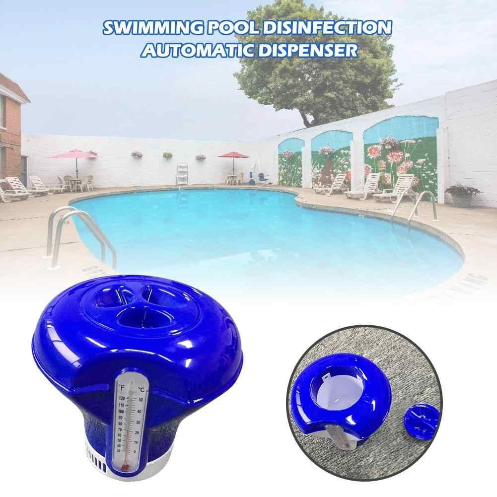 8 Cal z termometrem pływające tabletki pigułki pływający basen dezynfekcji automatyczne aplikator do baseny spa Jacuzzi